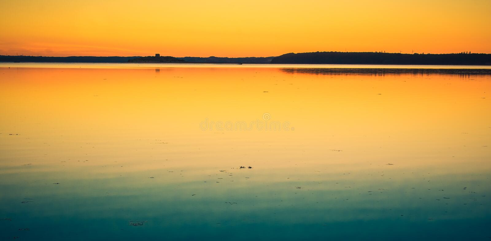 After the sunset, Aarhus Bay stock photo