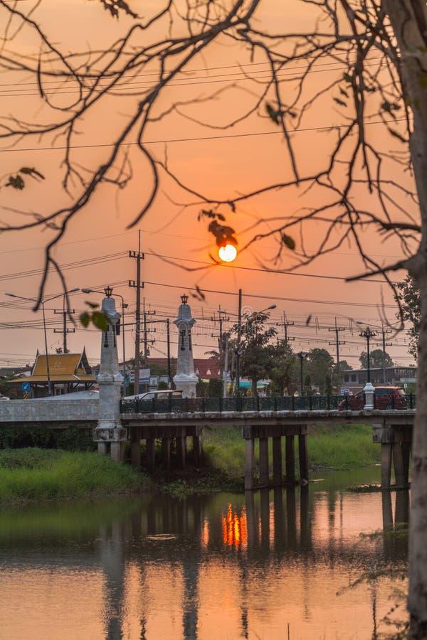 sunset above the bridge stock photography