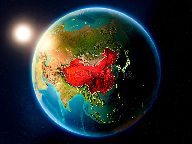 China with sunset from space. Sunset above China highlighted in red on planet Earth with visible country borders. 3D illustration. Elements of this image stock photos