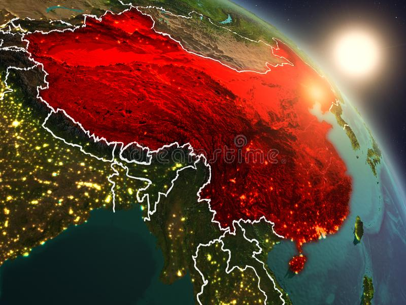 China from space during sunrise. Sunset above China from space on planet Earth with visible country borders. 3D illustration. Elements of this image furnished by vector illustration