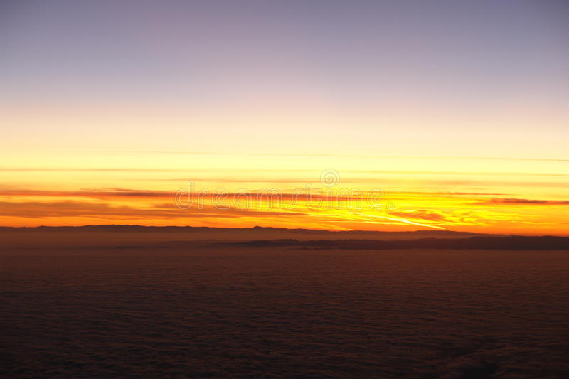 Download Sunset above clouds stock image. Image of sunset, step - 12664563