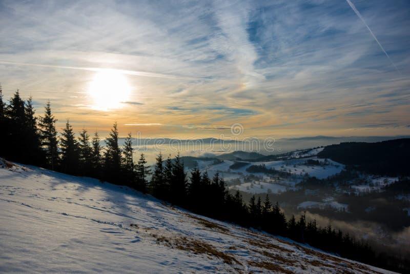 Sunset above Dolni Morava from Slamnik, Dolni Morava, Czech Rebublic. Europe stock image