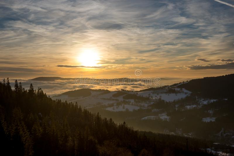 Sunset above Dolni Morava from Slamnik, Dolni Morava, Czech Rebublic. Europe royalty free stock photo