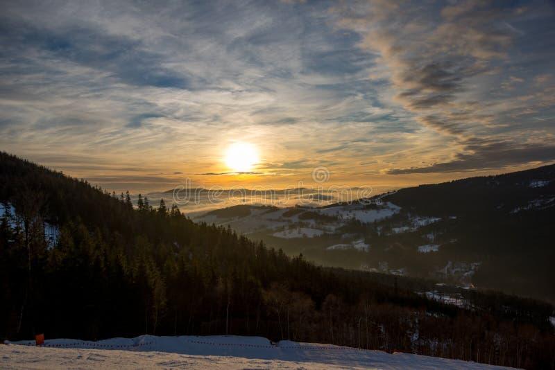 Sunset above Dolni Morava from Slamnik, Dolni Morava, Czech Rebublic. Europe royalty free stock photography