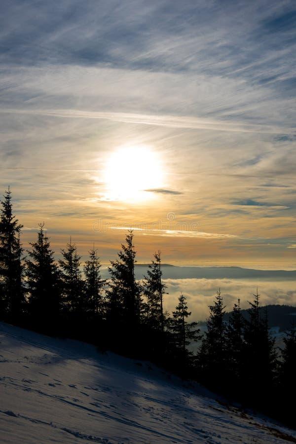 Sunset above Dolni Morava from Slamnik, Dolni Morava, Czech Rebublic. Europe stock images