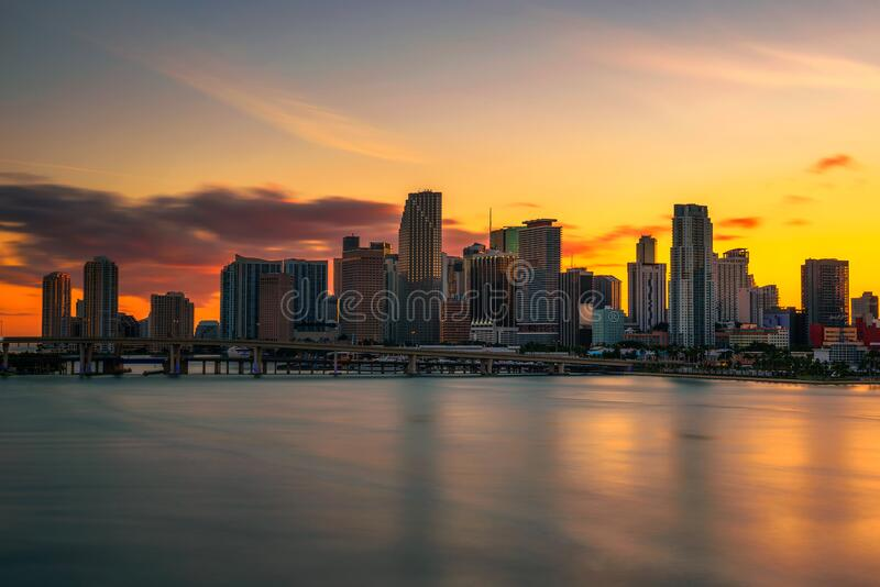 Sunset above Downtown Miami Skyline and Biscayne Bay stock photography
