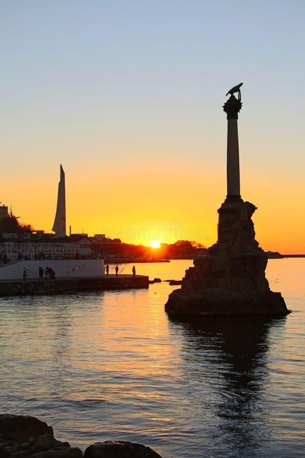 Sunset above embankment of Sevastopol stock image