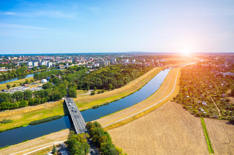 Download Sunset above Opole stock image. Image of poland, summer - 65399831