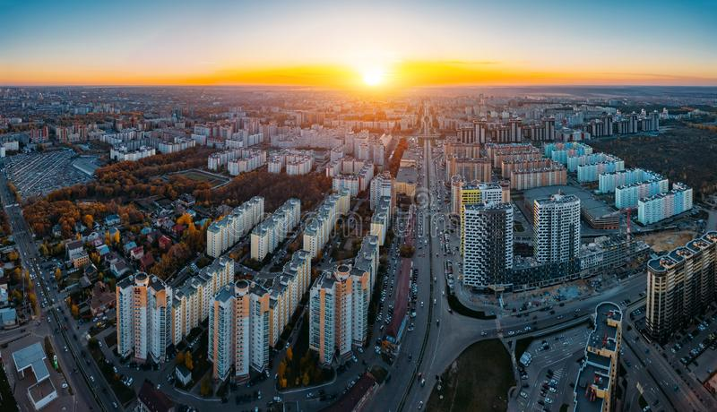 Sunset above panorama of modern residential area in Voronezh, aerial view from drone royalty free stock photography