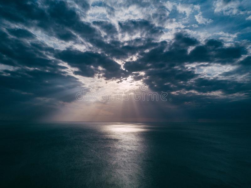 Sunset above sea stock photography