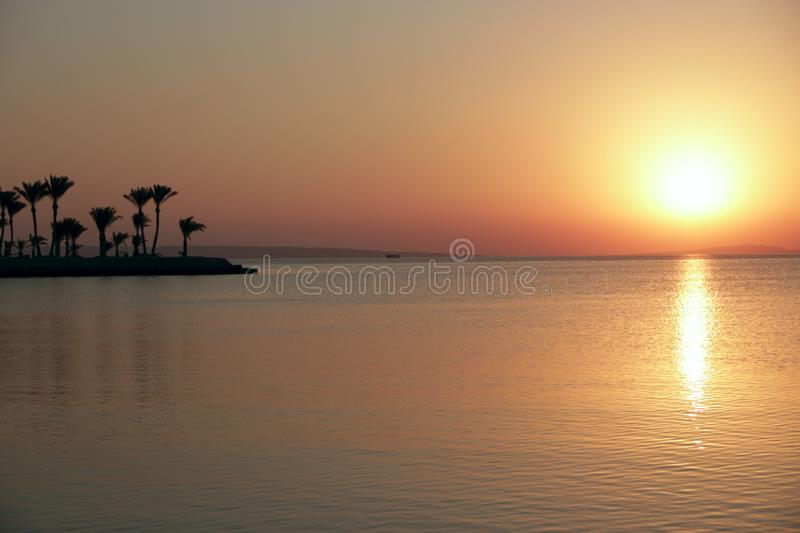 Sunset above sea. Beautiful summer decline above ocean royalty free stock photo