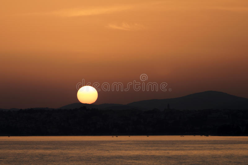 Sunset above the sea royalty free stock photography