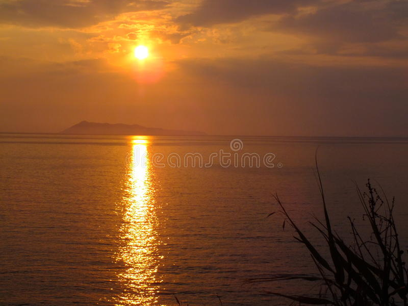Sunset above the see royalty free stock photos
