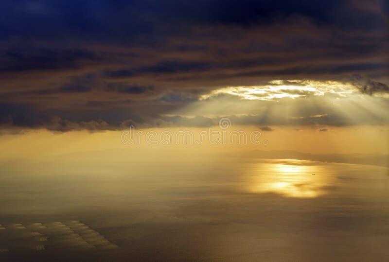 Sunset aerial view of the ocean near Wakayama. Japan stock photography