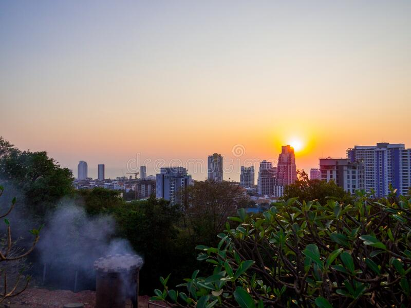 Pattaya, Thailand. Sunset aerial view from the Phratamnak Hill in Pattaya, Thailand stock photos