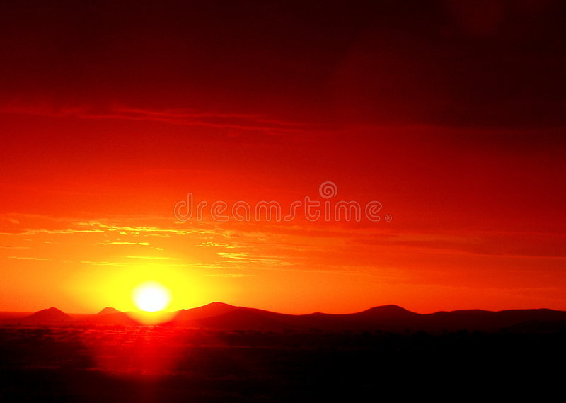 Sunset Africa. Red Sunset in Namibia, Africa