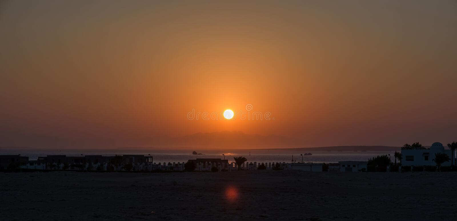 Sunset in Africa. Egypt. Sharm el-sheikh stock photography
