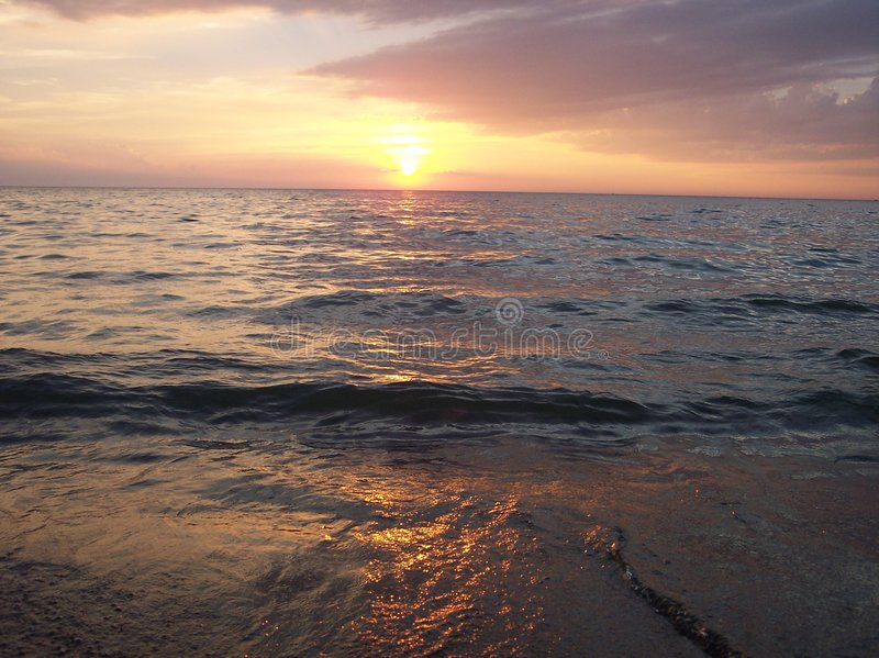 Download Sunset against the Shore stock image. Image of sundown - 207597