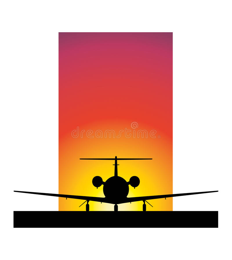 Download Sunset Airplane stock vector. Image of design, airbus - 16095104