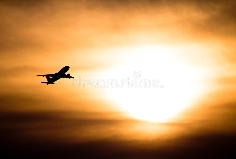 Download Sunset With Airplane Stock Photography - Image: 24929402