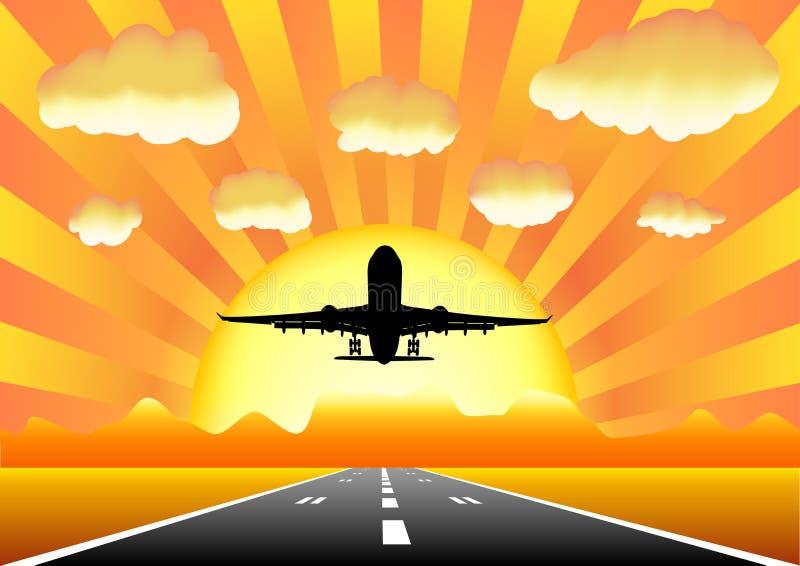 Sunset airplane i8 royalty free stock photos