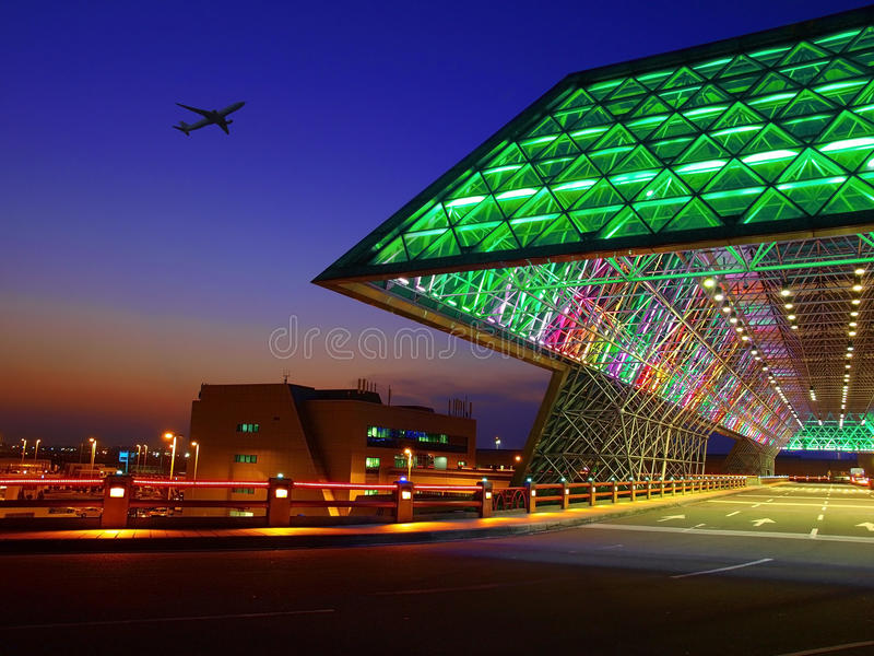 Sunset in the airport royalty free stock images