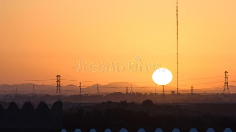 Sunset in Ajman from rooftop timelapse. Ajman is the capital of the emirate of Ajman in the United Arab Emirates. stock image
