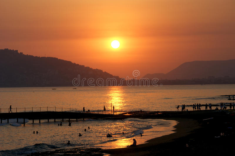 Sunset in Alanya. Image shows a spectacular sunset in the Alanya, Turkey royalty free stock photos