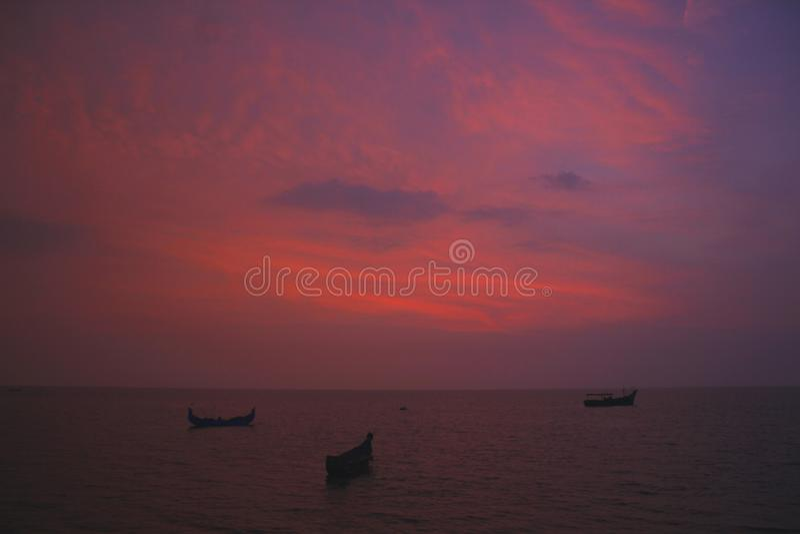 Sunset from Alappuzha Beach royalty free stock photo
