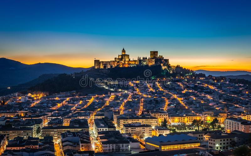 Sunset in Alcalá la Real. Sunset with the blue Hour over Alcalá la Real in Spain stock images