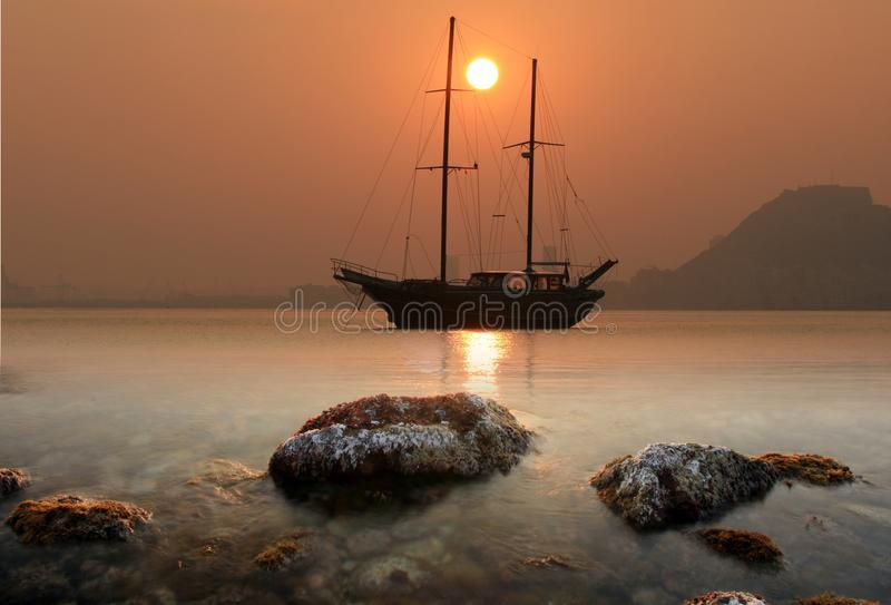 Download Sunset in Alicante Bay stock image. Image of beach, breakwater - 18342625