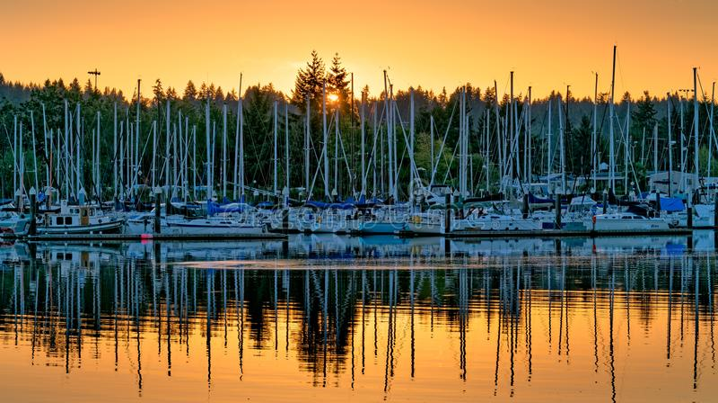 East Bay Sunset Olympia Washington royalty free stock photos