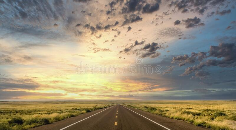 Sunset along Route 66 in Arizona royalty free stock image