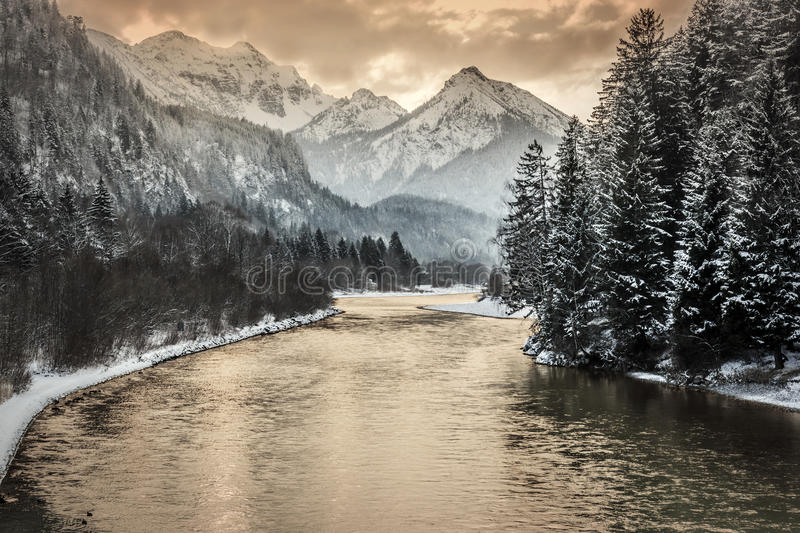 Download Sunset in alps stock photo. Image of river, alps, panorama - 28796220