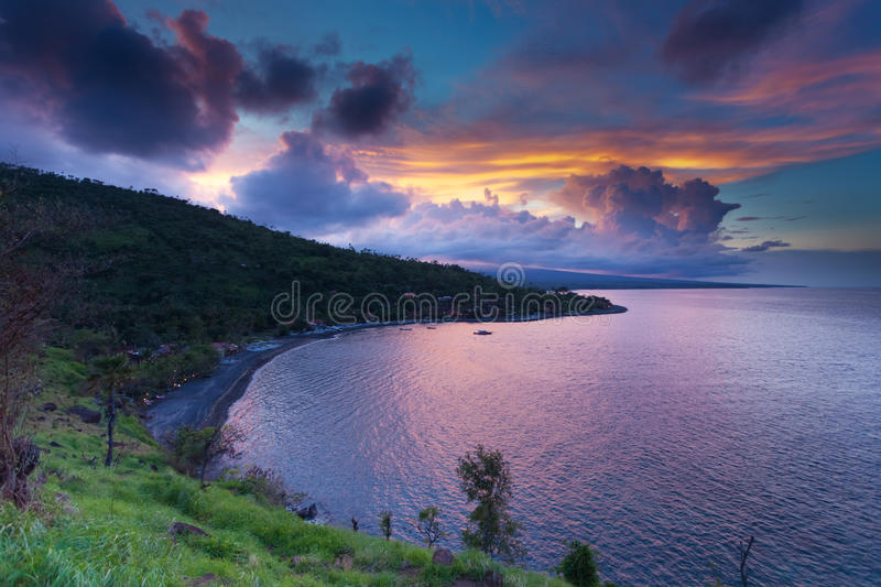 Sunset in Amed bay stock photos