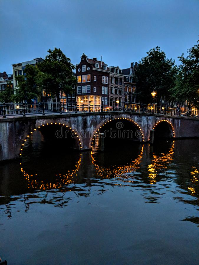 Sunset on the Amsterdam canals stock images
