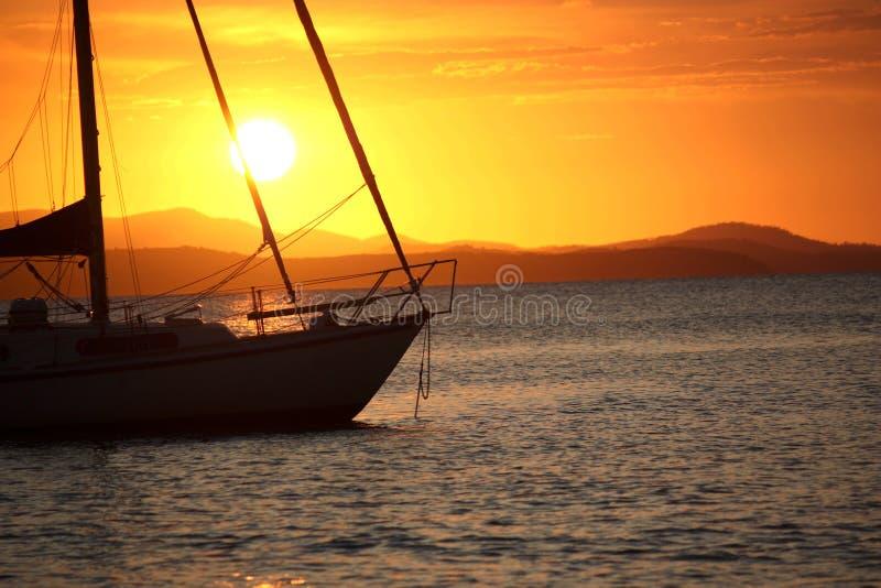 Sunset anchorage stock photo