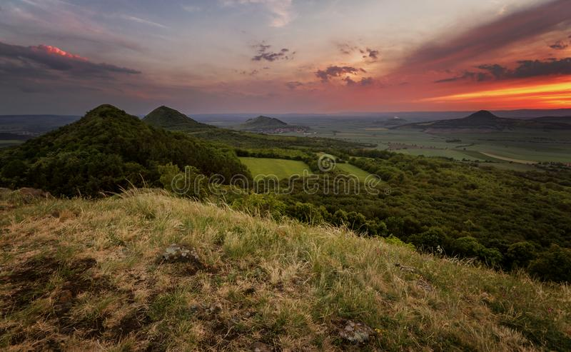 Sunset in the ancient volcanic mountains of Central Bohemia. Czech royalty free stock photo