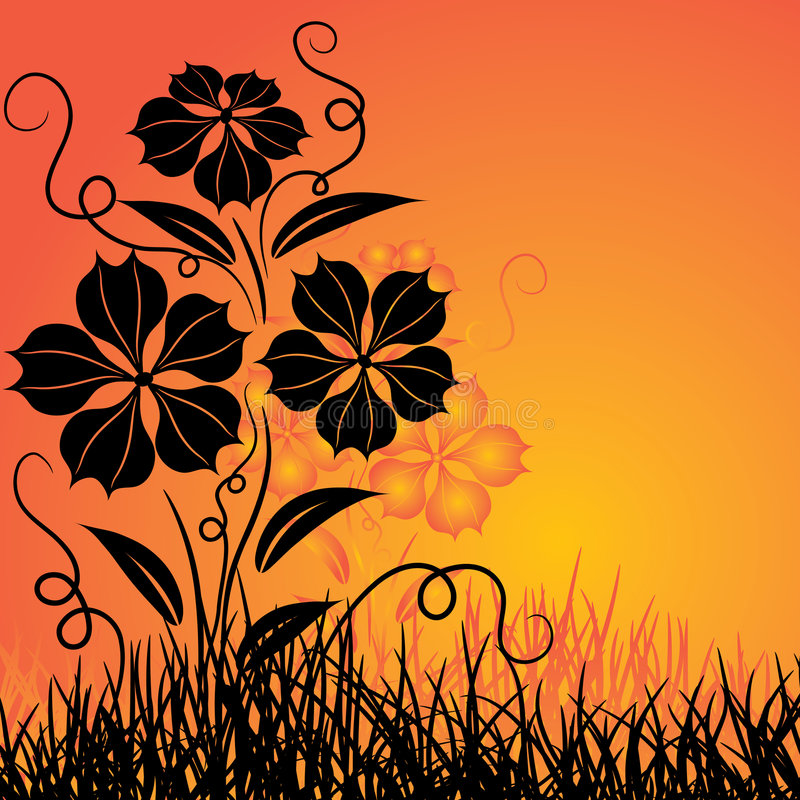 Free Sunset And Flower, Vector Royalty Free Stock Image - 2276396