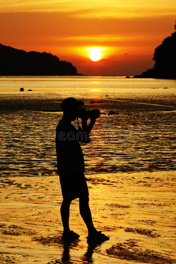 Free Sunset And Photographer Royalty Free Stock Photos - 14792998