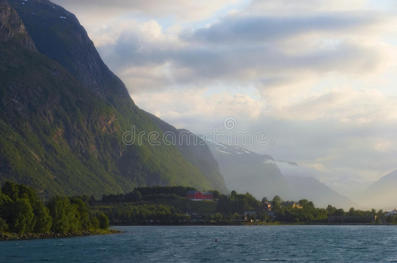 Sunset in Andalsnes. Norway. stock images