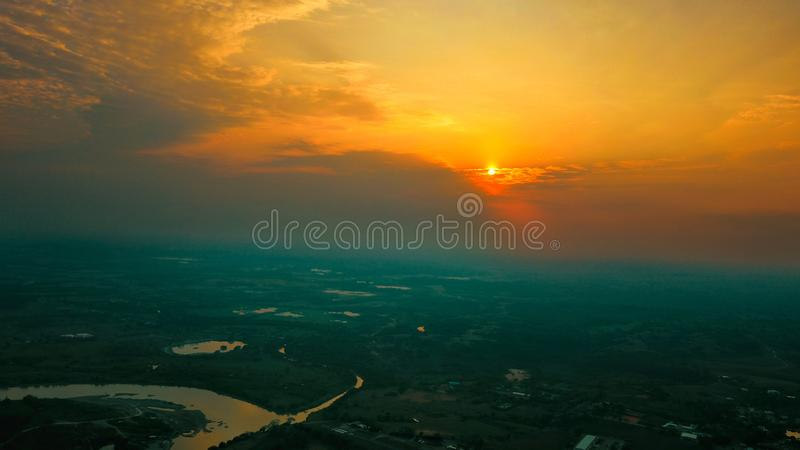 The sunset in Antioquia his town is caucasia the big river. The finished day and night begins royalty free stock images