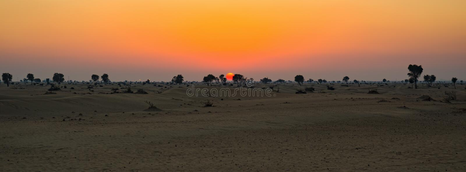 Sunset in the Arabian desert royalty free stock photos