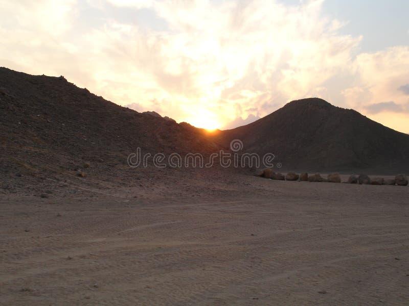 Sunset in the Arabian desert royalty free stock images