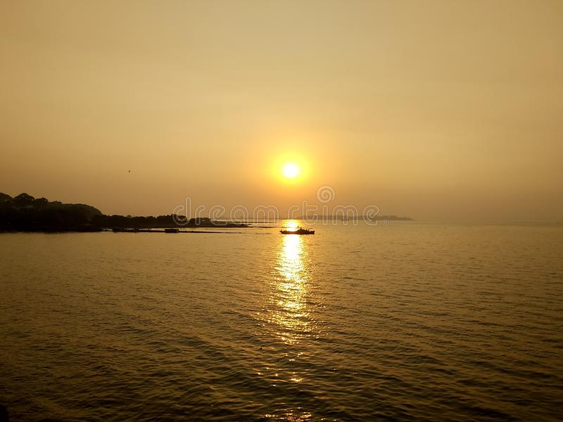 Sunset at Arabian Sea stock images