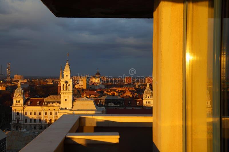 Sunset in Arad. Sunset colors over Arad, Romania stock image