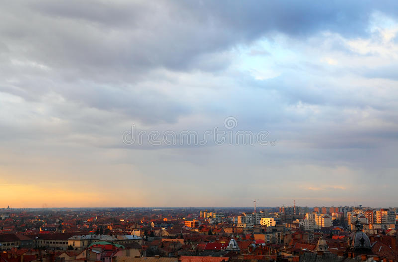 Sunset in Arad. Sunset colors over Arad, Romania royalty free stock photos