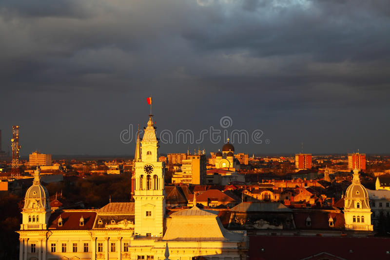 Sunset in Arad. Sunset colors over Arad, Romania royalty free stock photography