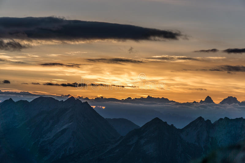 Sunset on the Aravis mountain royalty free stock photography