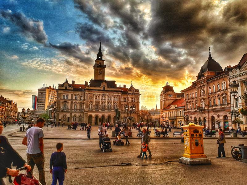 Sunset in the European capital culture royalty free stock photo